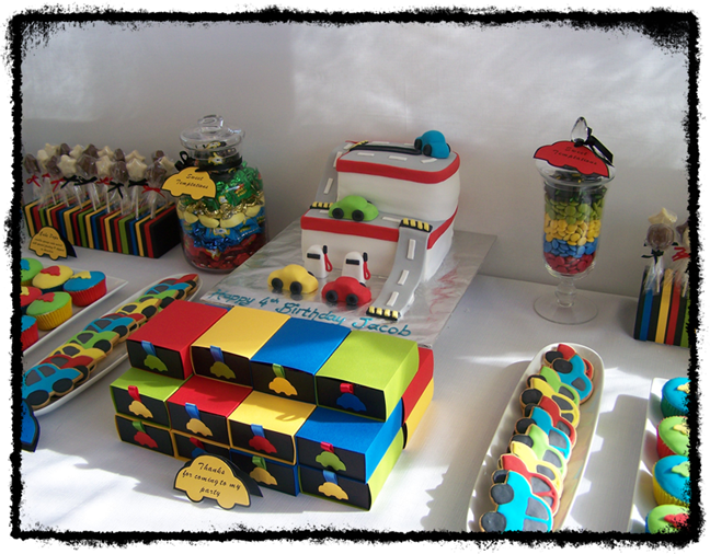 He chose a car garage cake, which is what I then based the theme of ...